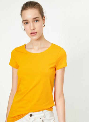 Koton Standart Kalip Bisiklet Yaka Basic T-Shirt Oranj